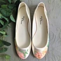 wedding photo - Peach rose, eucalyptus and succulent flowers handpainted custom flat wedding shoes