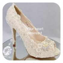 wedding photo - vintage lace wedding shoes crystal pearls bride heels custom shoes