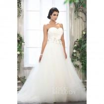 wedding photo - Grand A-Line Sweetheart Chapel Train Tulle Wedding Dress CWLT13094 - Top Designer Wedding Online-Shop