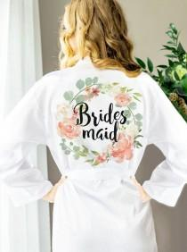 wedding photo - Bridal Party Robes For Bride & Bridesmaid, Floral Personalized Bridal Party Robes For Bride To Be, Personalized Custom Gifts (Item - ROB100)