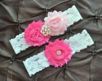 wedding photo - Wedding Garter, Bridal Garter Set - White Lace Garter, Keepsake Garter, Toss Garter, Hot Pink Wedding Garter, Blush Wedding Garter Belt