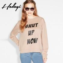 wedding photo - Fall 2017 new ladies stylish letters printed crew neck long sleeve sweater - Bonny YZOZO Boutique Store