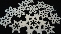 wedding photo - 24 Edible Large SPARKLY SNOWFLAKES / any color /sugar, gum paste / fondant / various layers / cake or cupcake toppers