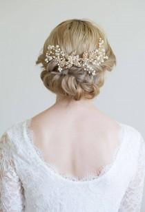wedding photo - Gold Hair Comb, Gold or Silver Hair Vine, Rose gold hair vine, Gold headpiece, Gold leaf comb, Rose gold comb