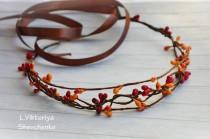 wedding photo - Fall flower crown Bridal hair vine Headpiece Vine Hair Crown Autumn Orange hair crown Autumn wedding crown Hair Wreath Bridal Flower LV12