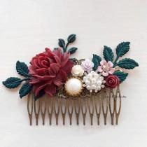 wedding photo - Maroon Wedding Hair Comb, Burgundy, Wine Red Bridal Headpiece, Lilac Pink Floral Hair Slide, Pearl, Rhinestone, Dark Green Leaf, Hair Clip
