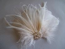 wedding photo - Wedding Bridal Ivory Feather Rhinestone Jewel Head Piece Hair Clip Fascinator Accessory