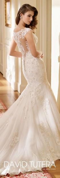 wedding photo - Cap Sleeve Lace And Tulle Trumpet Wedding Dress- 217219 Hazel