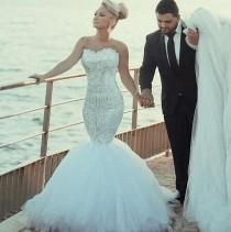 wedding photo - Gorgeous Lace Wedding Dresses Shinny Beaded Crystal Mermaid Bridal Gowns Sweetheart Detachable Train Wedding Party Dress From Ivowedding