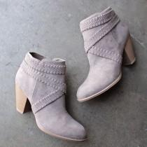 wedding photo - A Rare Braid Taupe Suede Booties