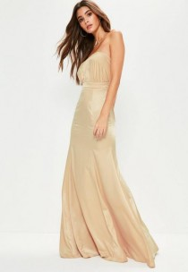 wedding photo - Nude Crepe Ruched Bandeau Maxi Dress