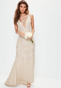 wedding photo - Bridal Nude Strappy Front Embellished Maxi Dress
