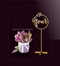 wedding photo - Sale Gold Table Number.Gold Table Numbers. Table Numbers with base.Wedding Table Numbers.
