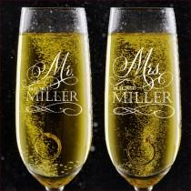 wedding photo - Set of 2, Personalized Wedding Toast Champagne Flutes - Mr. Mrs. Date & Last Name Champagne Wedding Glasses - Engraved Flutes - DSG #17