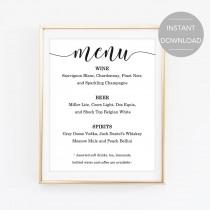 wedding photo - Bar Menu Sign, Printable Bar Menu Sign, Wedding Bar Menu Sign, Bar Menu Template, Bar Menu PDF File, Bar Menu Instant Download