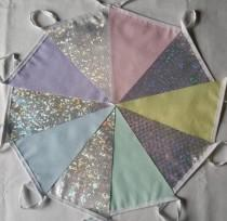 wedding photo - 10ft/3m Bunting Pastel Dotty & Holo Frozen Ice-chip Fabric: Silver Anniversary Pennant; Unicorn Rainbow Garland, Pink Lemon Mint Blue Lilac