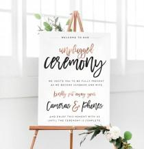 wedding photo - Rose Gold Unplugged Ceremony Sign for No Phones Wedding Ceremony Sign - Unplugged Welcome Sign - The Penny Set by Miss Design Berry