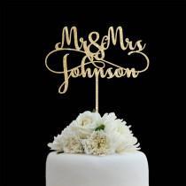 wedding photo - Customized Wedding Cake Topper, Personalized Cake Topper for Wedding, Custom Personalized Wedding Cake Topper, Last Name Cake Topper # 06