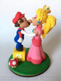 wedding photo - Mario Bros & Peach Wedding Topper Clay Nintendo Doll