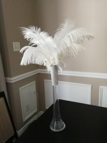 """wedding photo - PROMO Clear 16"""" Tall Ostrich Feather Centerpiece Kits with Round Eiffel Tower Vase"""