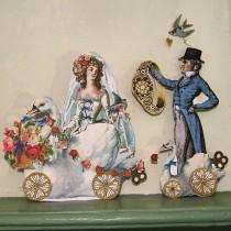 wedding photo - Digital Bridal Shower Decoration - Wedding Paper Doll - INSTANT Download - Bride, Groom And Dogs Vintage Art For Paper Crafting MA12M
