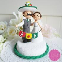 wedding photo - Custom Cake Topper- Mexican Fiesta Theme Couple