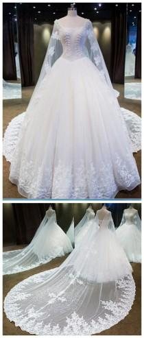 wedding photo - Real Photo Bridal Gown Strapless Lace Up Beaded Lace Long Watteau Train Wedding Dresses From Mfprom