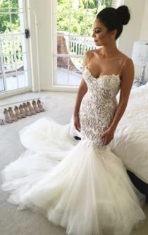 wedding photo - Delicate Mermaid Sweetheart Sleeveless Court Train Wedding Dress With Lace