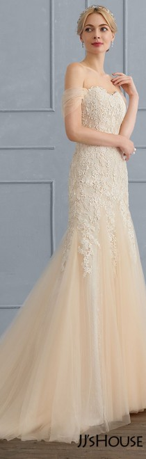 wedding photo - Trumpet/Mermaid Sweetheart Sweep Train Tulle Lace Wedding Dress (002107839)