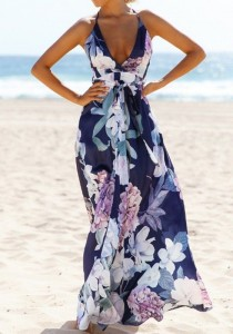 wedding photo - Deep Blue Flowers Print Sashes Draped A-line Spaghetti Strap Bohemian Maxi Dress