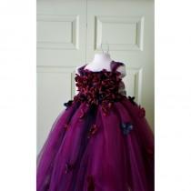wedding photo - Flower girl dress Marsala Red Dress, Wine red tutu dress, flower top, hydrangea top, toddler tutu dress Cascading flowers - Hand-made Beautiful Dresses