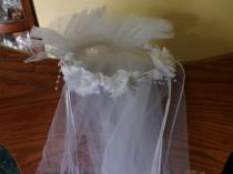 wedding photo - Vintage Bridal head piece, beaded pearls veil, wedding, veil, Bridal wear, White wedding veil, Wedding