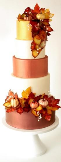 wedding photo - Learn To Make This Fall Wedding Cake And Decor!