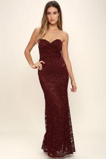 wedding photo - Inherent Beauty Burgundy Lace Strapless Maxi Dress