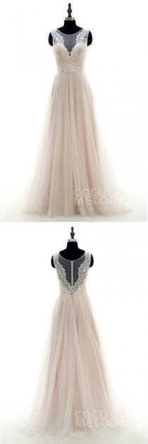 wedding photo - Pretty A-Line Illusion Natural Sweep-Brush Train Tulle And Lace Ivory/Champagne Sleeveless Zipper With Buttons Wedding Dress With Appliques LD3569