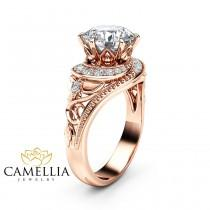wedding photo - Moissanite Halo Engagement Ring 14K Rose Gold Filigree Ring 2 Carat Moissanite Engagement Ring