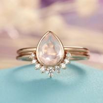 wedding photo - Rose Quartz Engagement Ring Rose Gold engagement ring Vintage Diamond Wedding ring set Women Bridal jewelry Pear Shaped Cut Stacking Promise