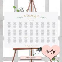 wedding photo - Greenery wedding seating chart table plan templates