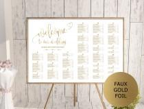wedding photo - Gold Wedding Seating Chart Template, Alphabetical Seating Chart Printable, Seating Board, Editable Seating Chart, Seating Poster