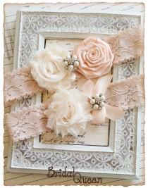 wedding photo - Wedding Garter Set, Blush Bridal Garter Set, Lace Garters, Vintage Garters - Blush Lace, Cream and Nude Flower Garter