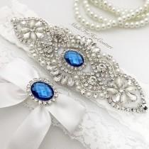 wedding photo - Royal Blue Wedding Garter, White Wedding Garter, Blue Garter Set, Crystal Pearl Garter, White Wedding Garter Belt-Something Blue Garter set