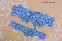wedding photo - Something Blue Garter, Blue Lace Garter, Blue Wedding Gift, Garter Set Blue, Blue Garter Belt, Wedding Garter Vintage, Garters For Wedding
