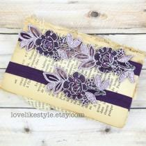 wedding photo - Plum and Lavender Beaded Flower Lace with Plum Elastic Wedding Garter Set, Plum Wedding Garter Set, Toss Garter, Lavender Garter / GT-34