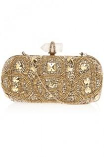 wedding photo - Women's Metallic Lily Embroidered Clutch Bag