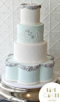 wedding photo - Mint Green And White Wedding Cake