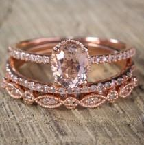 wedding photo - Sale 2 carat Antique Milgrain Oval Shape Morganite & Diamond Trio Ring Set in 10k Rose Gold with One Halo Engagement Ring 2 Wedding Bands