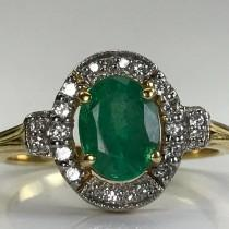 wedding photo - Vintage Emerald Engagement Ring. Diamond Halo. 18K Gold. Unique Engagement Ring. Estate Jewelry. May Birthstone. 20th Anniversary Gift.