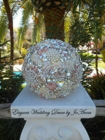 wedding photo - Dusty Rose and Ivory Brooch Bouquet, Dusty Rose Bouquet, Vintage Dusty Rose Jeweled Wedding Bouquet, Pink and Ivory Bouquet, FULL PRICE