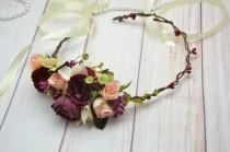 wedding photo - Gift/for/girl Flower girl crown Maroon flower crown Flower headband Boho wedding crown Peach headband Flower head piece Burgundy head wreath