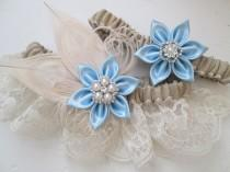 wedding photo - Burlap & Lace Wedding Garter Set, Something Blue Garters, Ivory Peacock Garters, Rustic Bridal Garter with Light Blue Flowers, Country Bride